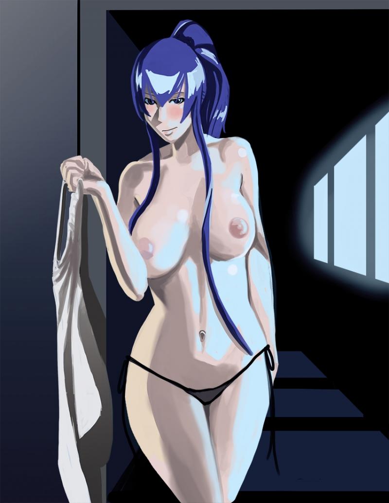 Busty Saeko Busujima have sexy body