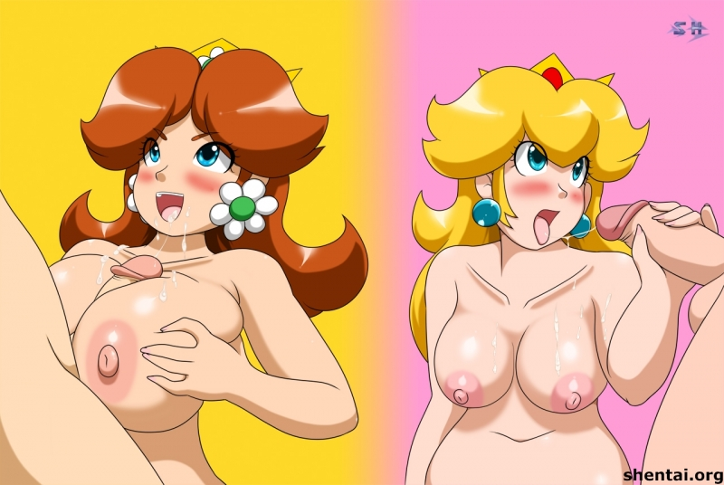 Prinsess Daisy vs Queen Peach in jerkoff compete... but looks like this time it's a draw!