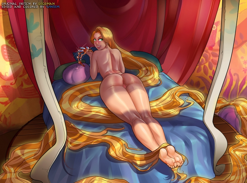 Rapunzel has no problems with posing nude for some fancy jewels!