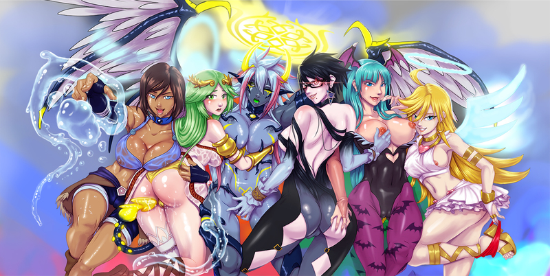 1759793 - 7th-Heaven Avatar_the_Last_Airbender Bayonetta Bayonetta_(character) Bayonetta_2 Darkstalkers Kid_Icarus Korra Morrigan_Aensland Palutena Panty Panty_and_Stocking_with_Garterbelt The_Legend_of_Korra crossover.jpg