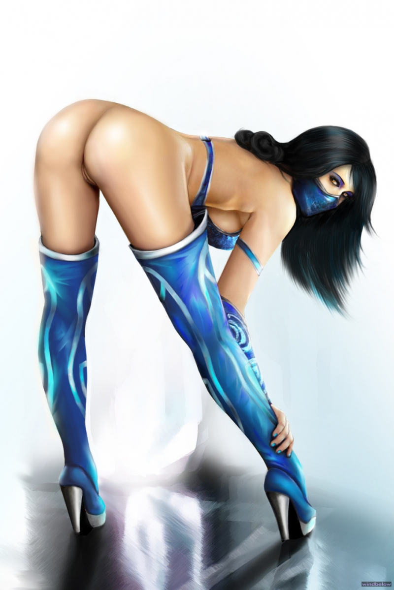 Marvelous Kitana shows her plump ass and pink gash