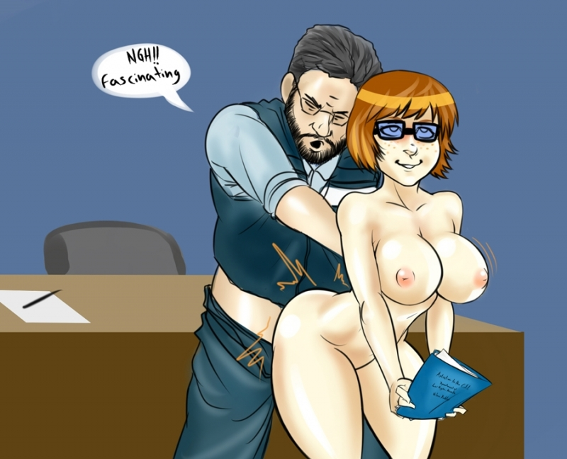 Gigantic-breasted Velma Dinkley gets poked from behind wearing only her nerdy glasses