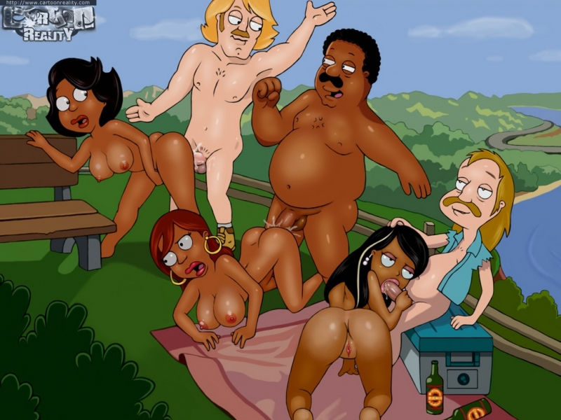 Cleveland Brown and his friends having an outdoor drill-out!