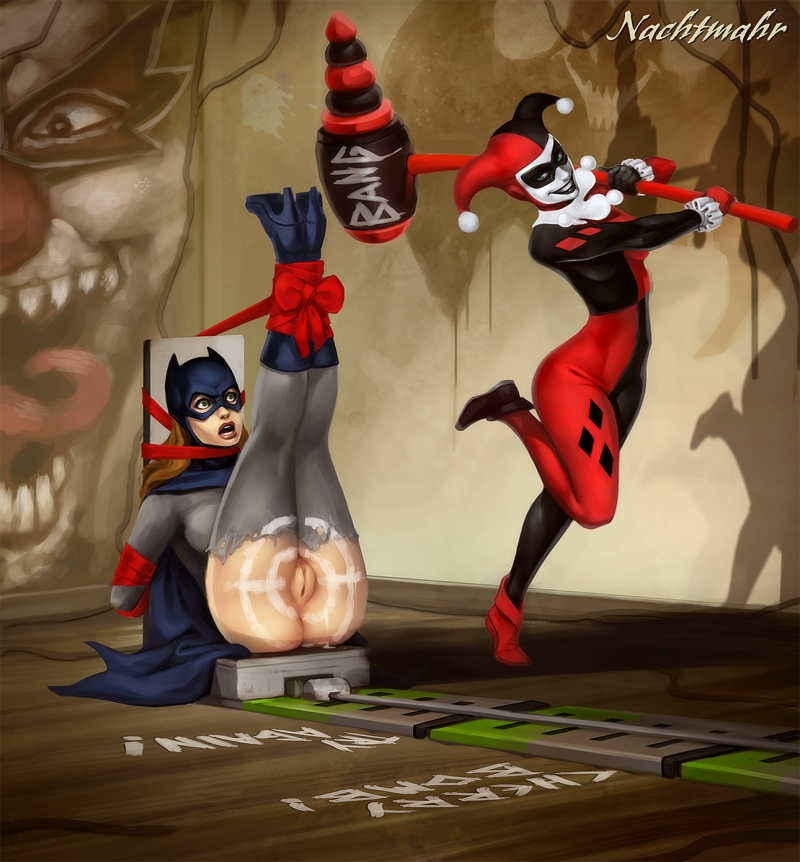 Harley Quinn could not even think of a nicer target for accuracy practicing than Batgirl's gash!