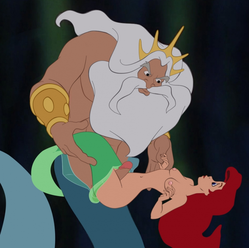 King Triton want have joy with stunning nymph  Ariel