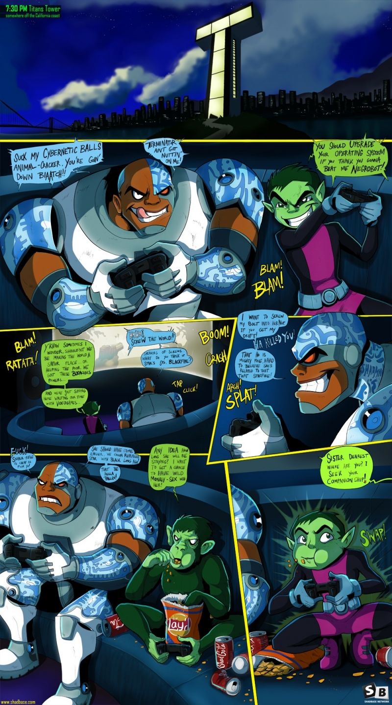 Starfire, Raven and Blackfire take care of each other's twats, while stupid boys have joy the console.