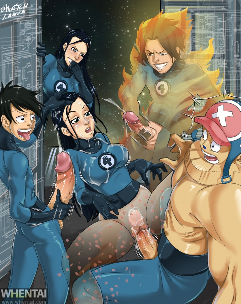 1248748 - Chopper Fantastic_Four Johnny_Storm Marvel Monkey_D._Luffy Nico_Robin One_Piece Portgas_D._Ace Reed_Richards SketchLanza Sue_Storm The_Thing c