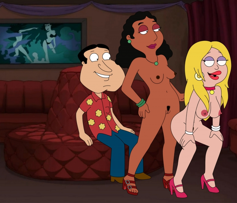 Naked Linda Memari finds herself inbetween Quagmire and Francine - there is gonna be a super-fucking-hot three-way for sure!