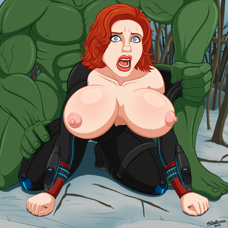 Hulk rigid tear up big-titted Ebony Widow from behind