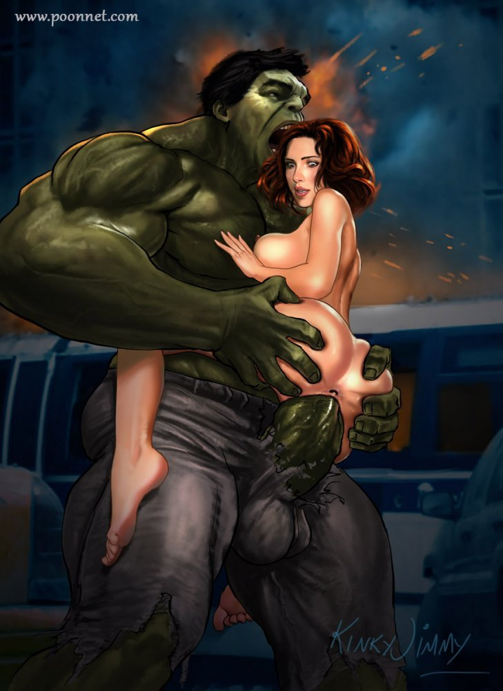 Dark-hued Widow seems to be astonished herself that Hulk's hefty salami fits in her twat so effortless!
