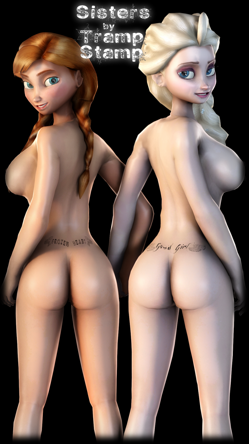 Elsa and Anna and their nude sexy backs!