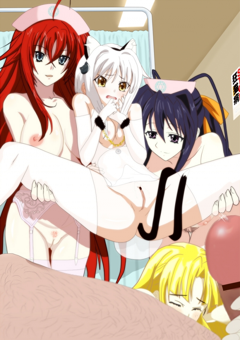 Koneko will feel this huge cock in her pussy very soon thanks to Rias and Akeno!