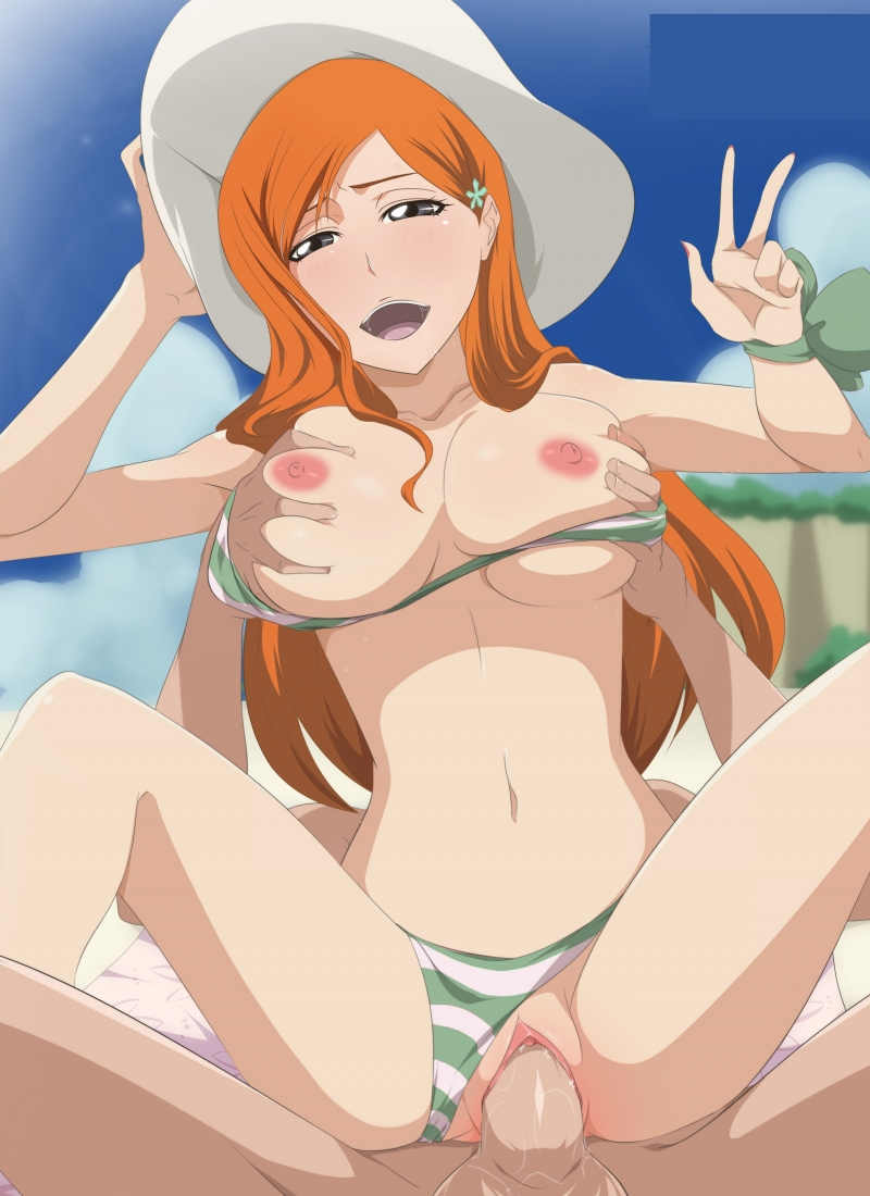 For Orihime Inoue the day on the beach is no joy sans a supah-nice rosy cigar to rail on!