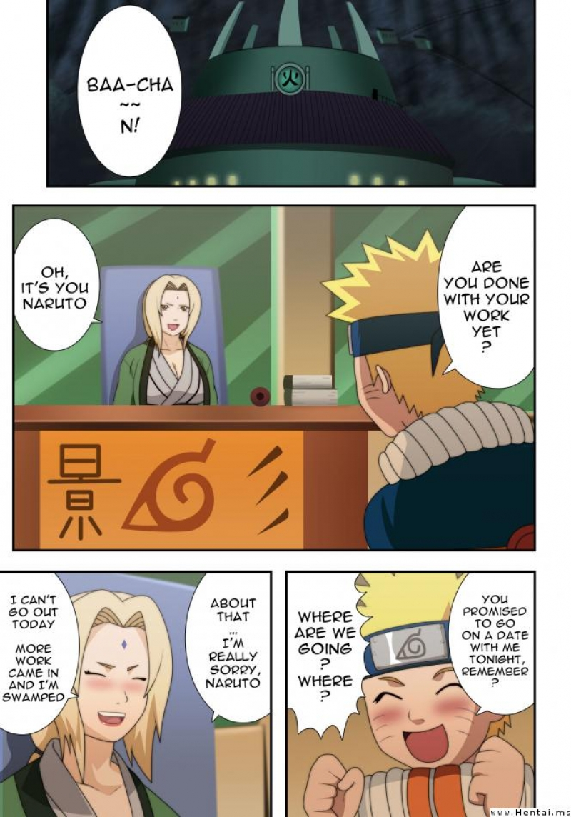 Tsunade and Naruto comics: Tsunade and Naruto are fucking in the office... and almost get busted by Shizune!