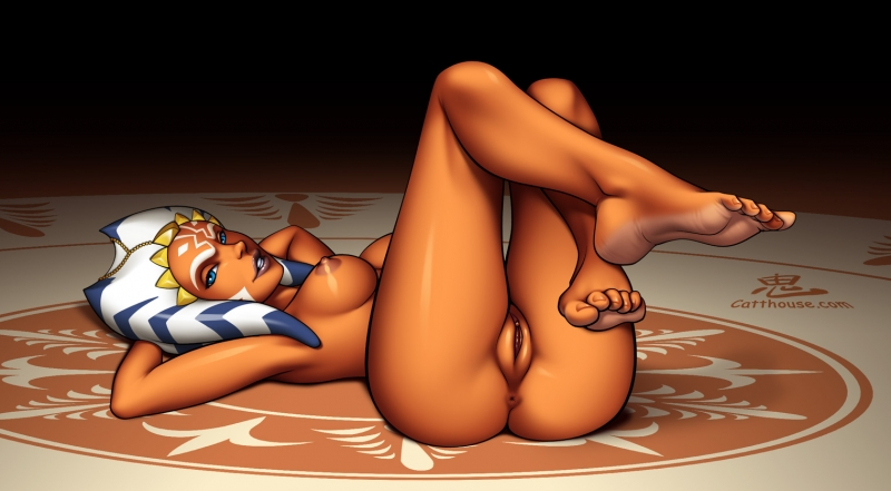 Ample-titted Ahsoka Tano showcases her smooth-shaven fuckbox