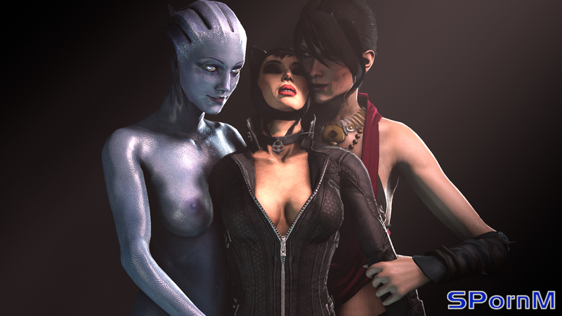 1541619 - Batman:_Arkham_City Catwoman DC Dragon_Age Dragon_Age_Inquisition Liara_T'Soni Mass_Effect Mass_Effect_3 Morrigan SPornM crossover.jpg