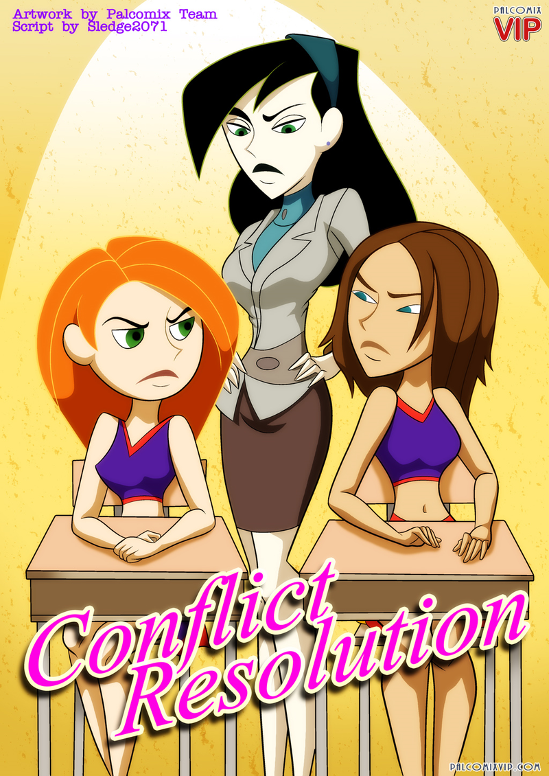 [Palcomix] Conflict Resolution - Shego, Bonnie Rockwaller and Kim Possible make lesbians fun in school room