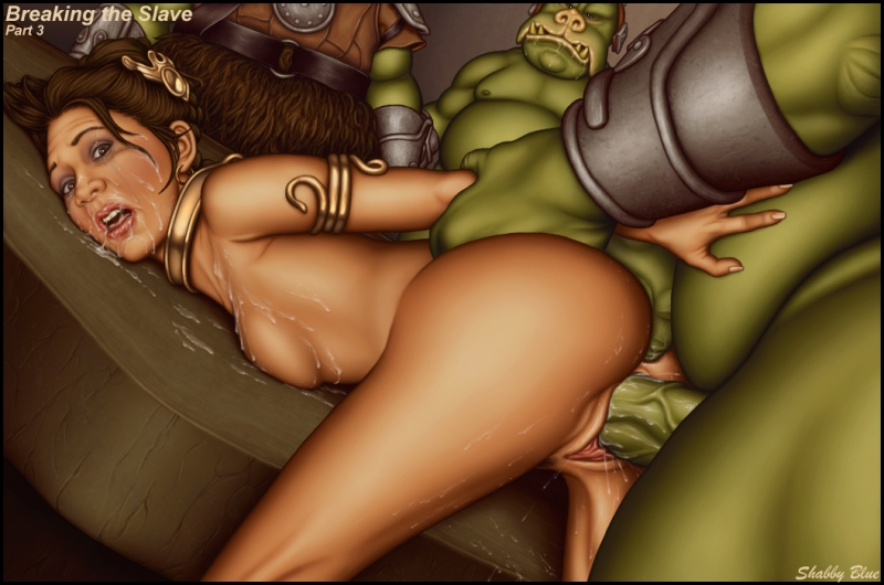 Nasty alien guard haed drill Princess Leia from behind