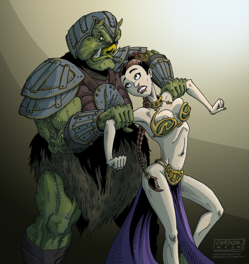 Goddess Leia want penetrate with ugly alien guard