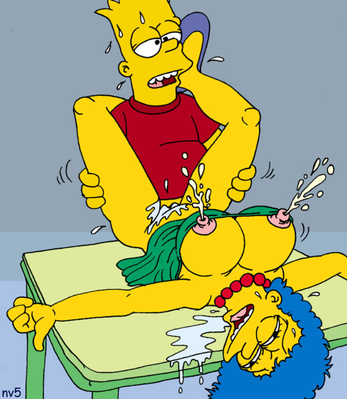 Bart Simpson poke chesty Marge Simpson