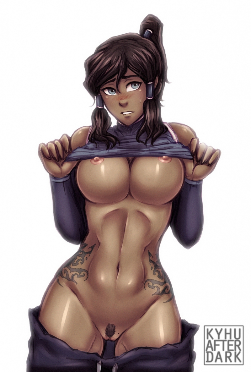 Killer Korra displays her pretty titties and cock-squeezing beaver
