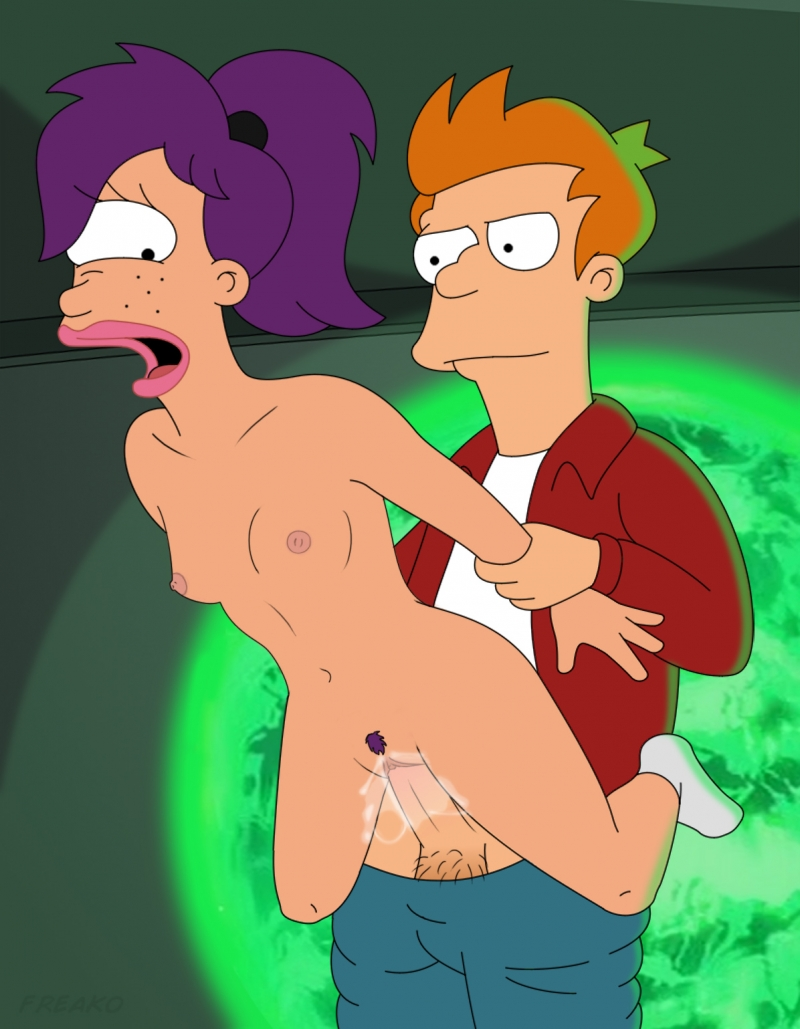 Finally Philip J. Fry gets junior and bare version of Leela on his huge chisel!