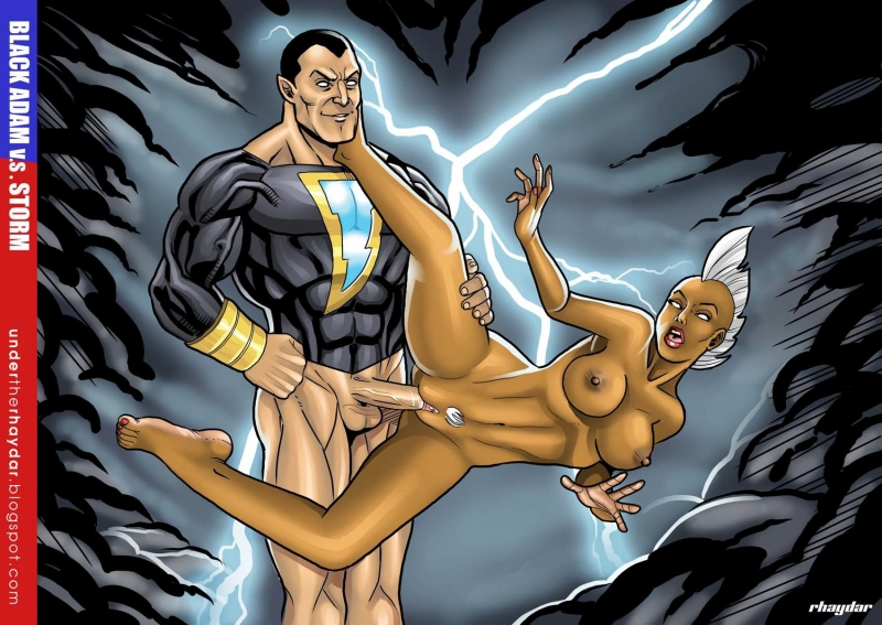 After Storm has charged Black Adam with lightning he began to ravage her even quicker and stiffer!