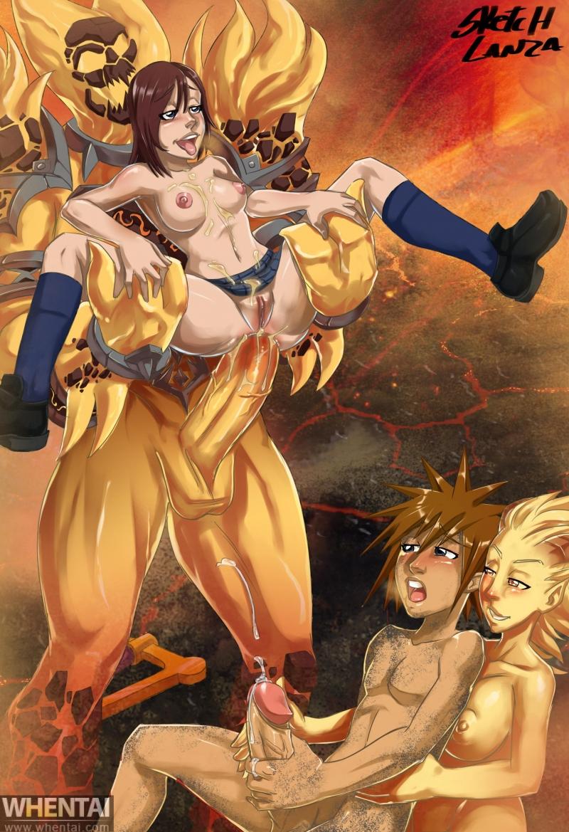 1210653 - Kairi Kingdom_Hearts Ragnaros SketchLanza Sora World_of_Warcraft crossover fire_elemental.jpg