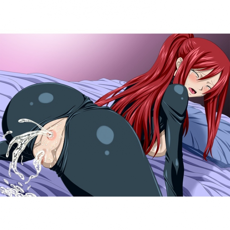Sex-positive sandy-haired Erza Scarlet got both of her holes overfilled with jism!