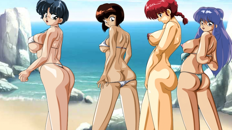 Akane Tendo with her big-titted Girlfriend calming on beach