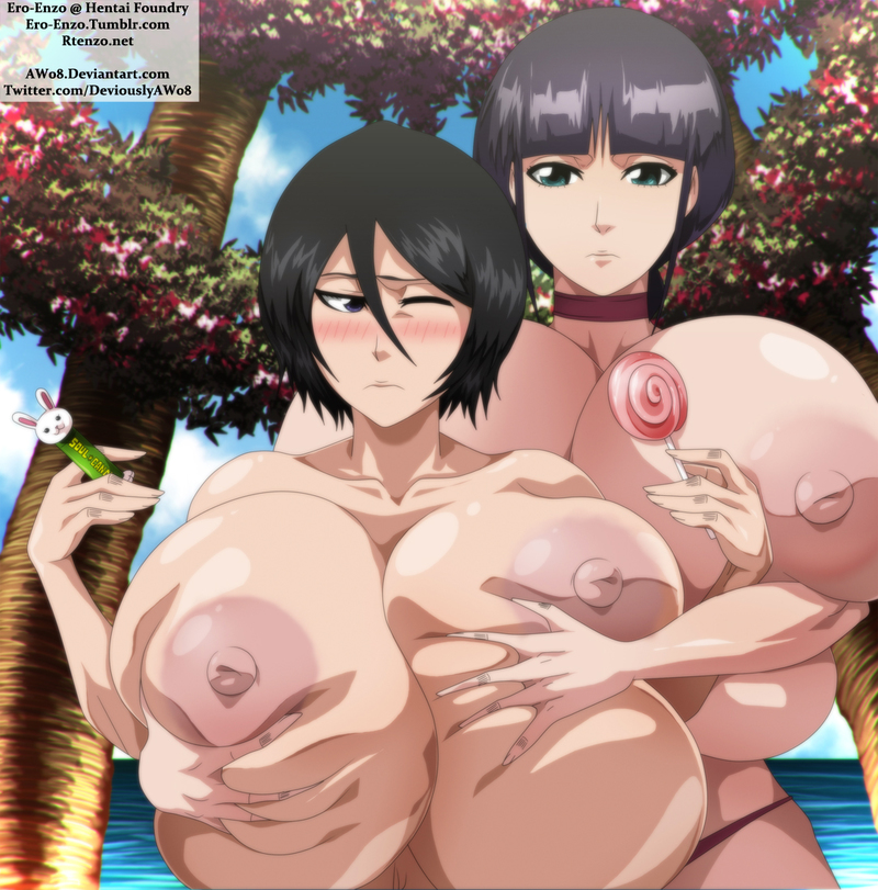 Nemu Kurotsuchi likes to grasp Rukia Kuchiki's large fun bags even tho' her own are even larger!