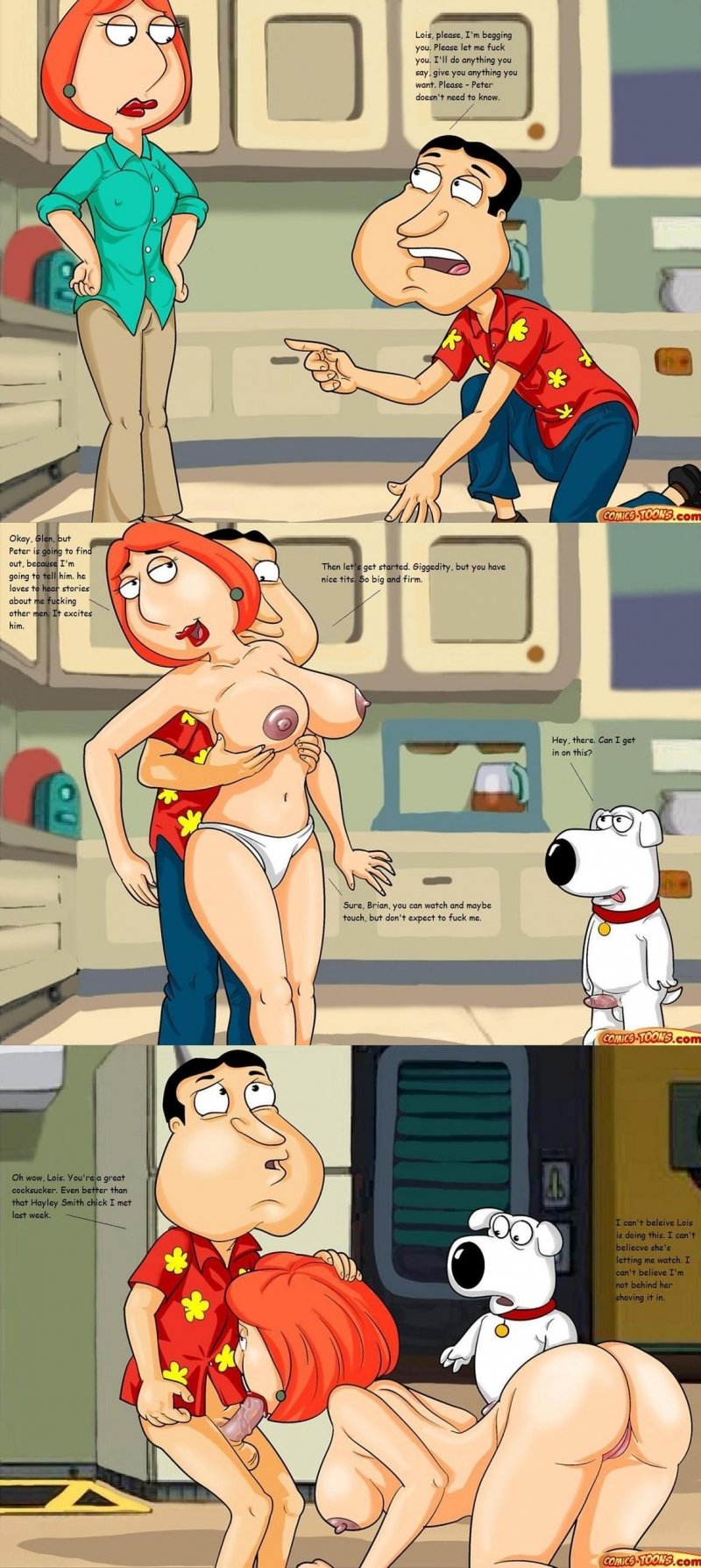 Lois Griffin doesn't mind Brian to observe her having some adult joy with Quagmire...
