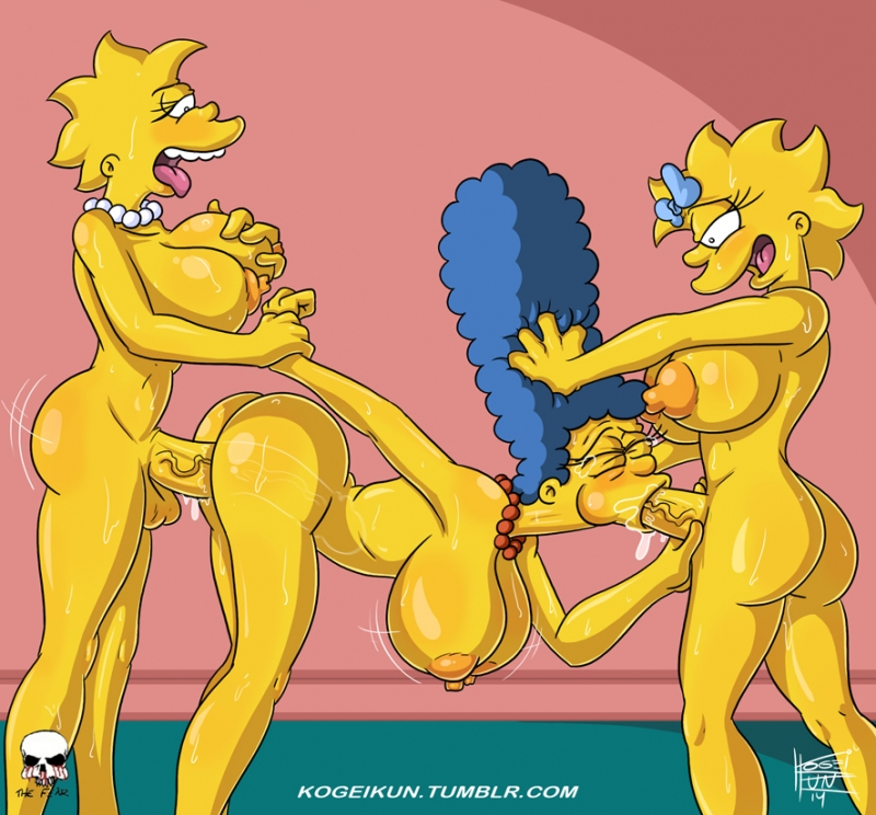 Marge Simpson gets pounded from both concludes by... growned up Lisa and Maggy!