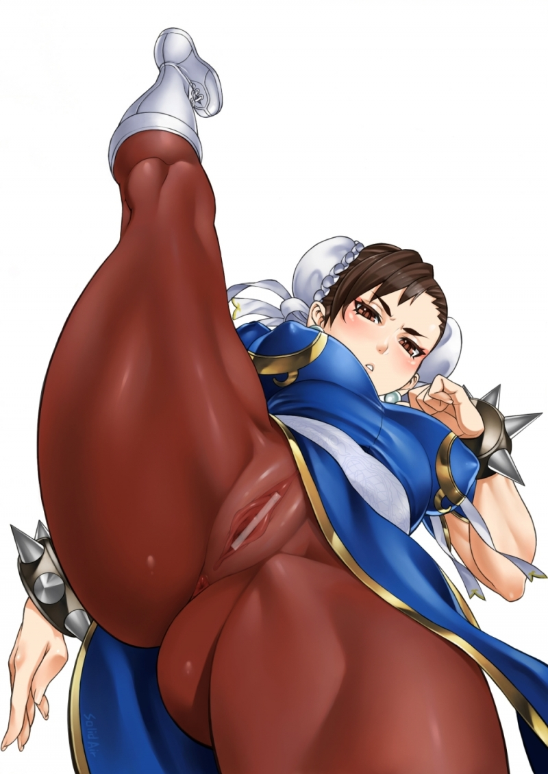 Chun Li showing her man rod-squashing cooter with firm love button