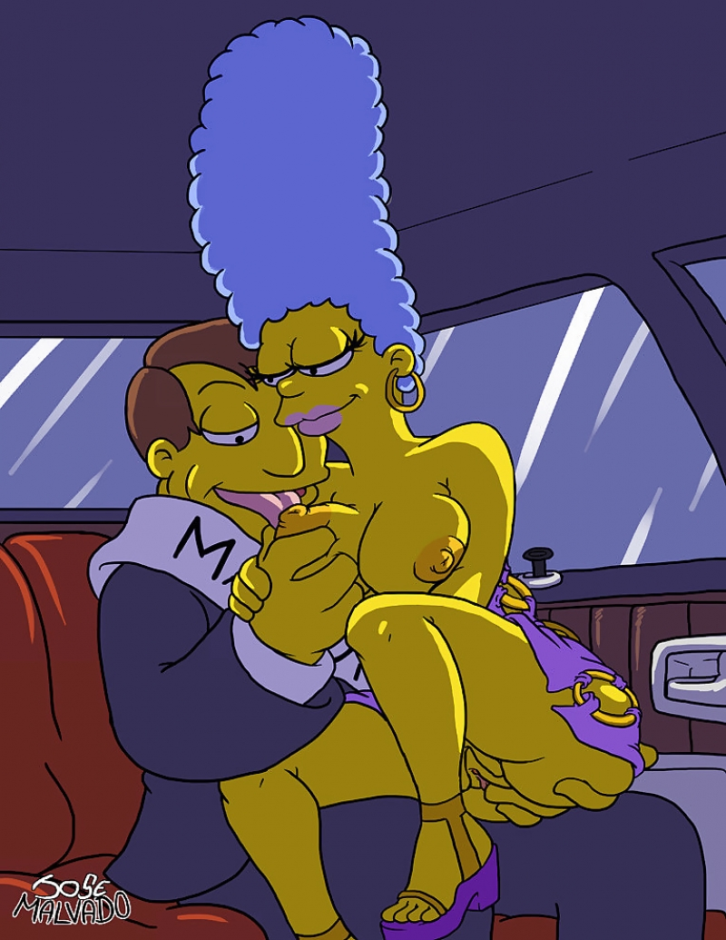 Buxom Marge Simpson entices the mayor right in his car!