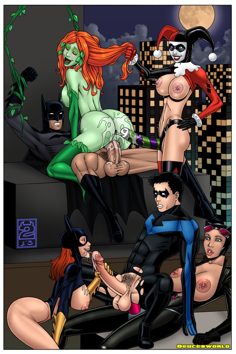 Batmans pals and Batman's opponents - everyone like to throw an intercourse on one of Gotham's scyscraper roof!