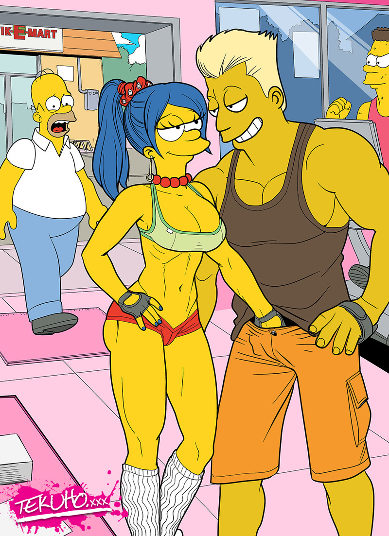 Marge Simpson is not waisting time anymore - her palm heads directly into man's trousers!