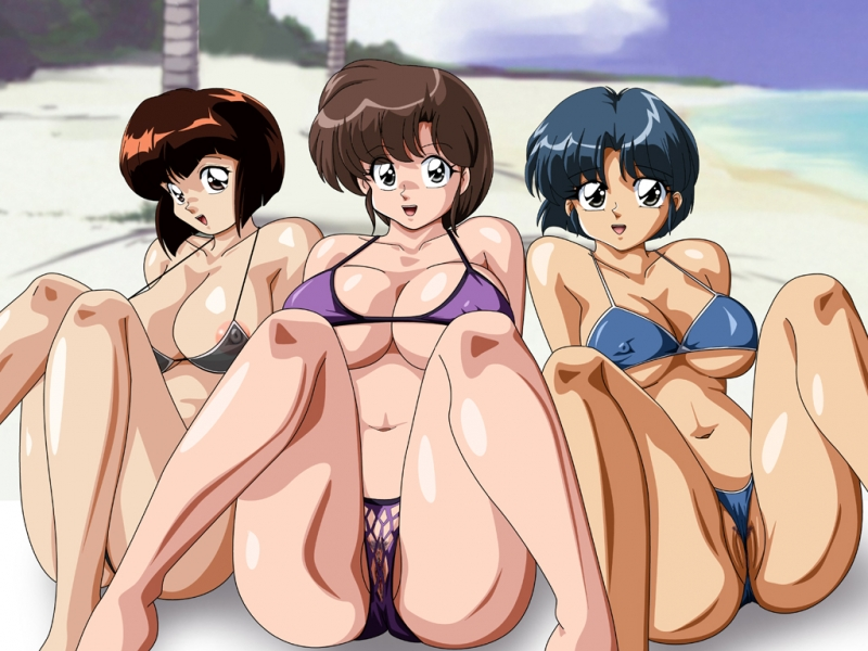 Ranma and her sexy friends love to wear tiny bikini swimsuits!