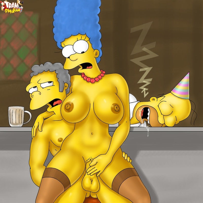 While Homer is sleeping drunk Moe will unwrap his wifey's present...