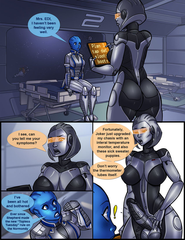 Ass in Effect (Mass Effect): First EDI fucks Liara... and the Liara fucks EDI!