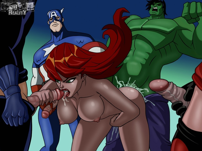 Avengers assemble... to give Black Widow one super gangbang!