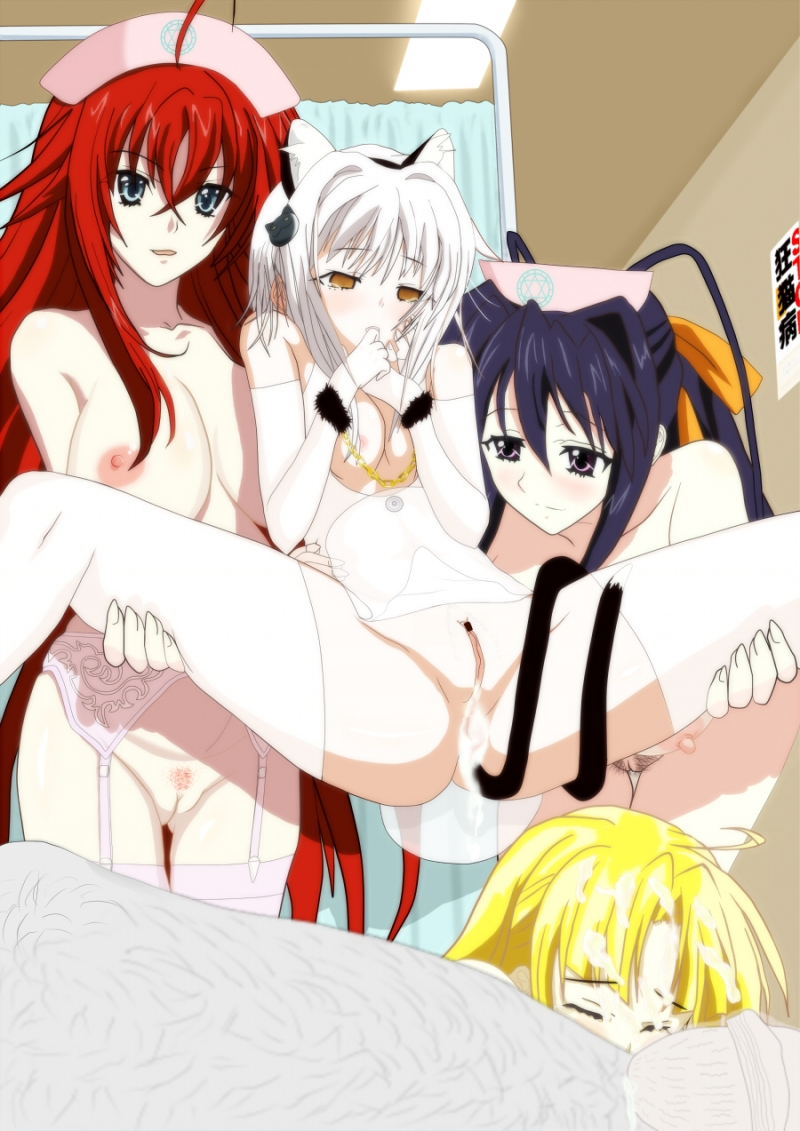 Akeno Himejima and Rias Gremory are both enjoying the view of Koneko Tojo's creampied pussy