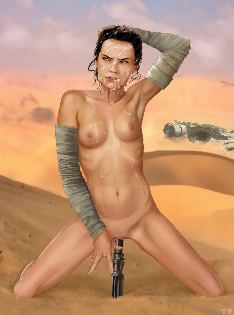 Who has cum all over Rey's face if she lives alone in the desert?