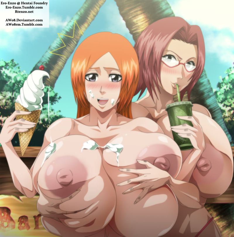 Orihime Inoue has ice testicle tonic running in rivulets all over her giant bare milk cans... but no worries - Chizuru Honsho will kindly eat it up afterward!
