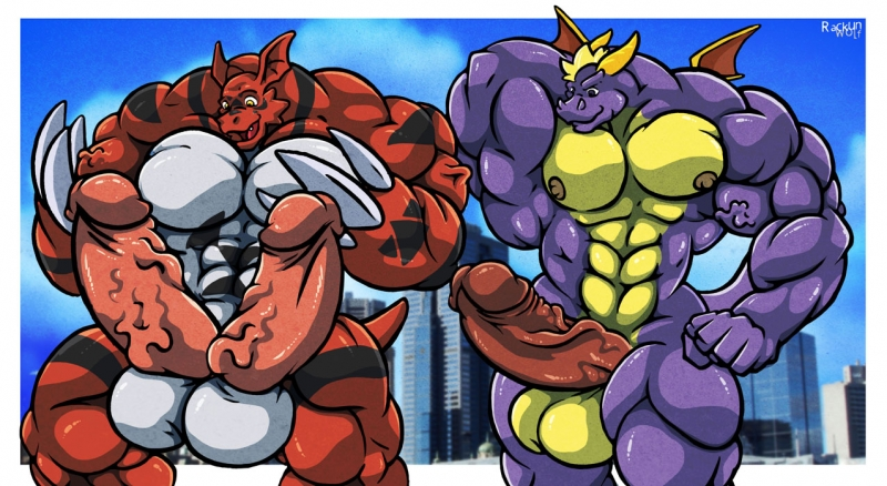 1034569 - Digimon Guilmon Rackun Spyro_The_Dragon crossover.jpg