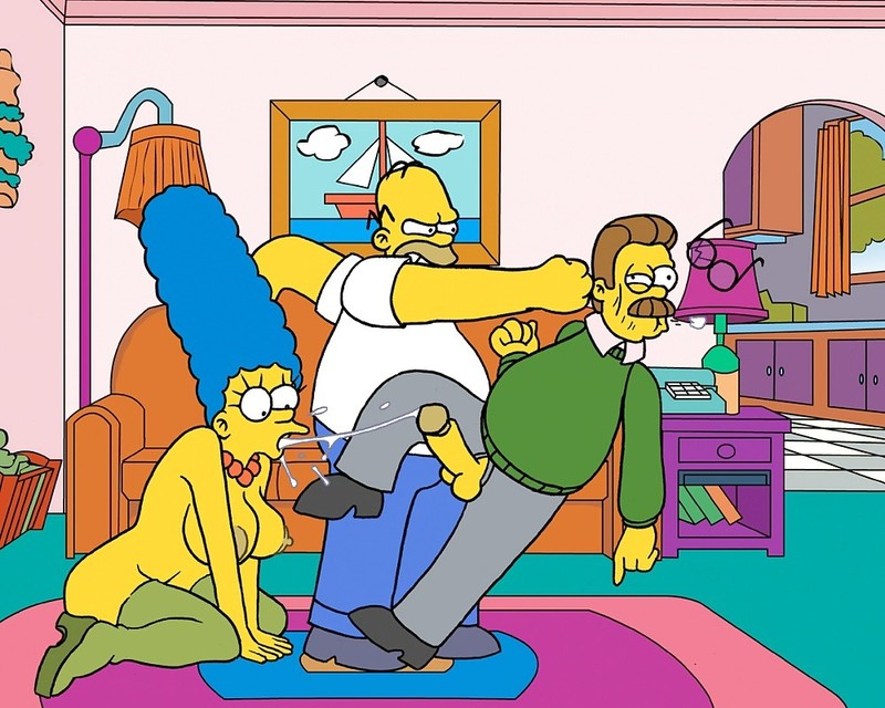 Homer Simpson Ned Flanders Marge Simpson Nikki Wong Amy 623467821.jpg