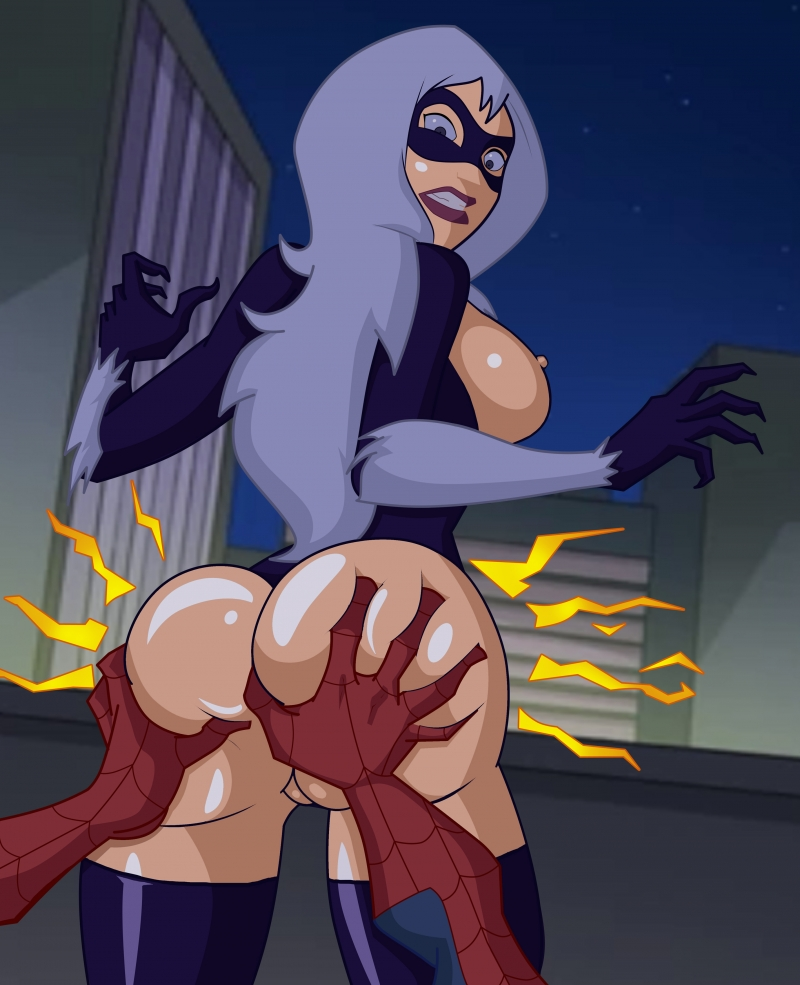 Spider-dude taunt Ebony Cat obese arse