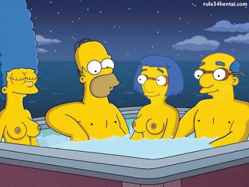 Homer and Marge Simpson spending some quality time in the pool with another married couple...