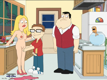 Looks like no one has any idea why Francine is bare in the kitchen or why Steve is spanking her juggling mounds...