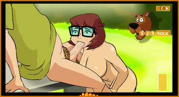 Velma Dinkley was paying all the attention to Bushy's rock-hard fellow fellow rod so she didn't noticed that they are watched by Scooby!